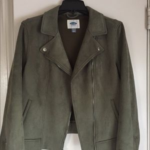Old Navy faux suede green moto jacket